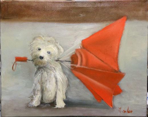 Zambon Monica (Italia) - Ho rotto l'ombrello - olio su tela - 50 x 40