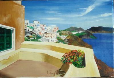 Zoppi Lorenzo - terrazza sul mare - olio tela - 30 X 20