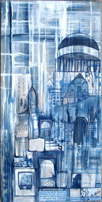 Russell-Davies Jessica  – Rain Stained city - Acrilico, Tela, 45x90cm