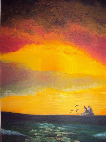 Beatrice Zanuccoli - Tramonto sul mare - olio su tela  - 20 x 30