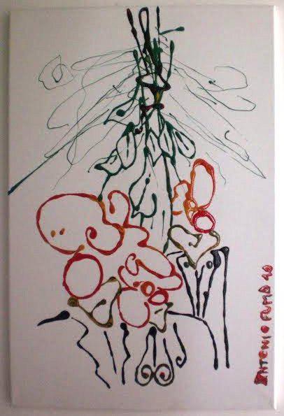 Antonio Fumo - Un fiore di plastica - smalti su tela - 40 x 60