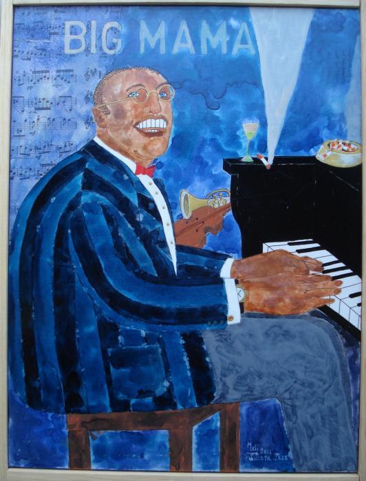 Meli Claudio – Pianista Jazz Tecnica mista, Tavola  Legno, 32x42cm, 2011
