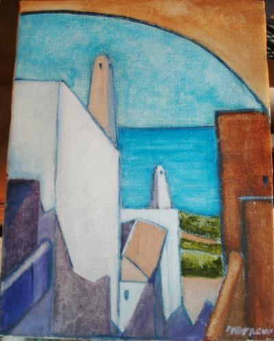 Preve Maria Teresa - Santorini - olio tela - 30 x 40