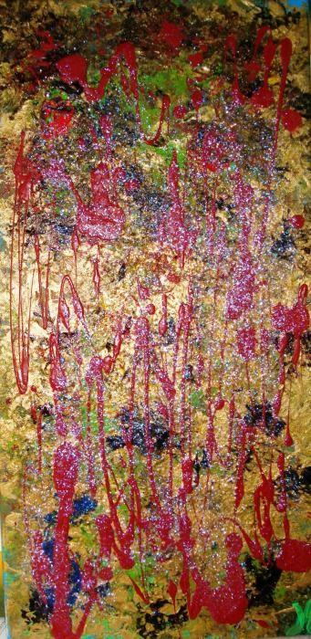 Per Roberta - oro acrilito, tempera e olio su tela - 30 X 60