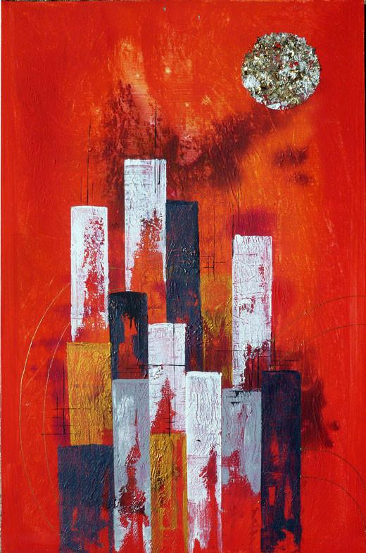 Rossetti Chiara (Italia) - Fuoco sulla città - acrilico tela - 40 x 60