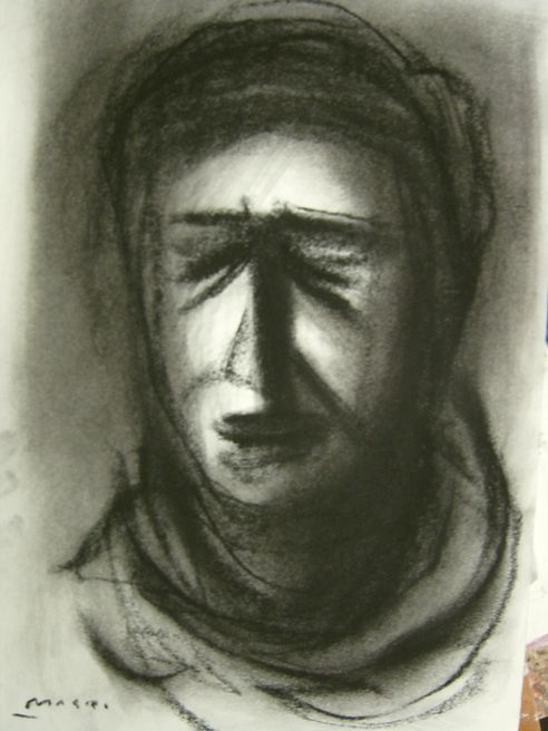 Hayssam Masri - Palestinian woman 2 - grafite su cartoncino