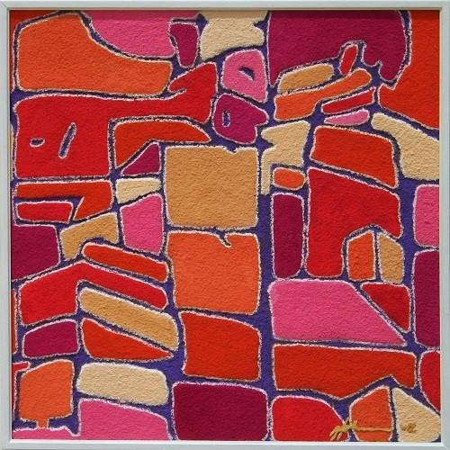 Johansson-D'Agostino Gunilla (Svezia) - tetti - tecnica mista tela - 70 x 70