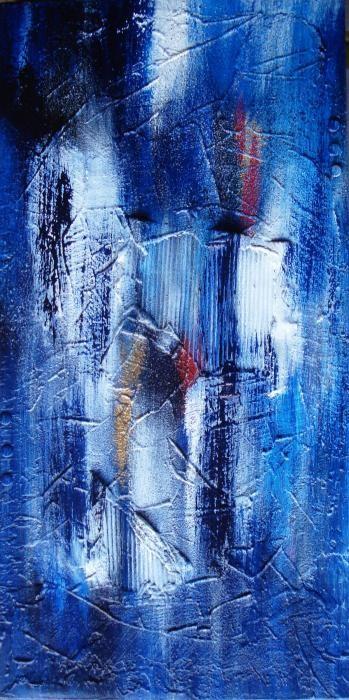 Polgar Aliz - Blue moon - tecnica mista tela - 30 X 60