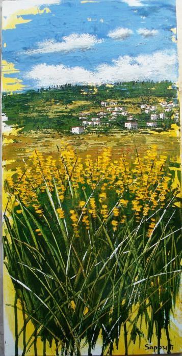 Saporiti Marco - Paesaggio in giallo - acrilico tela - 30 X 60