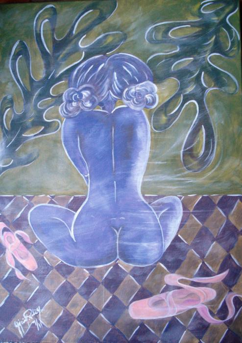 pirela M Yajaira M  le bambine sognano tecnica mista su tela 50 X 70