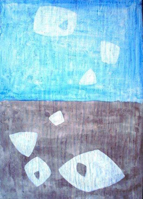 Fisicaro Omar - Sassi e nuvole - tecnica mista tela - 50 X 70