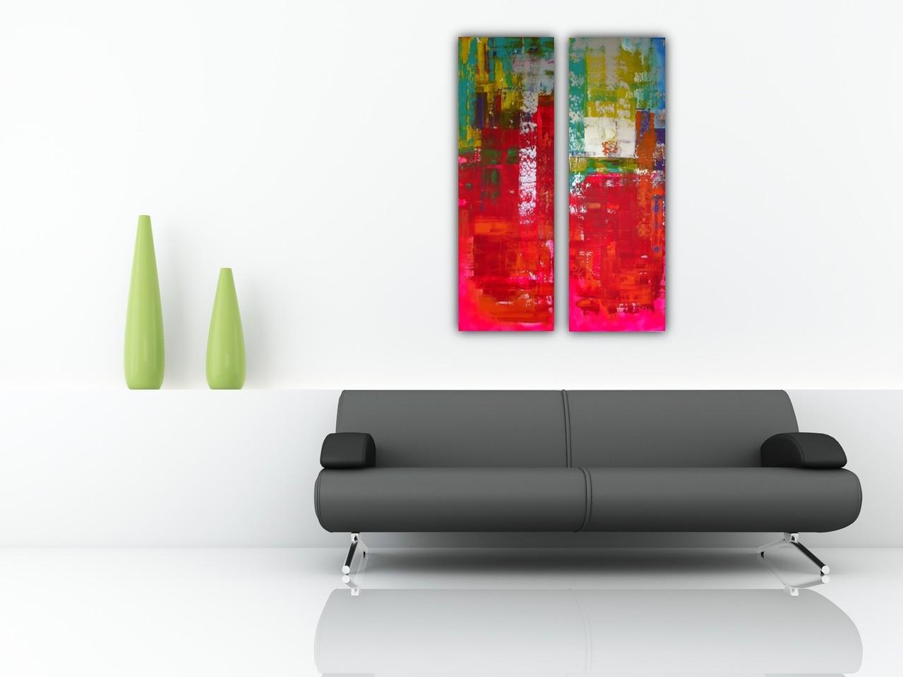 2 luik rood abstract Verkocht