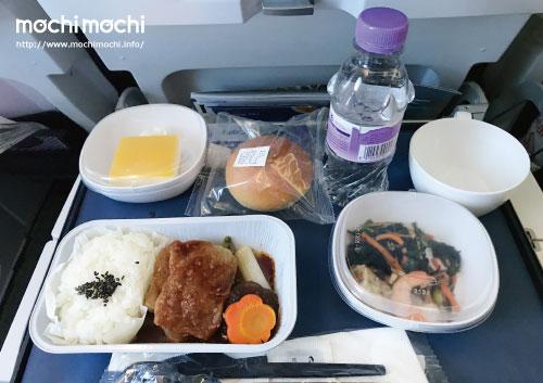 行きの機内食その1 牛肉だか何だか(雑な覚え方) 旅行中、お米が食べれるのは最後だと思っていたのでした…。