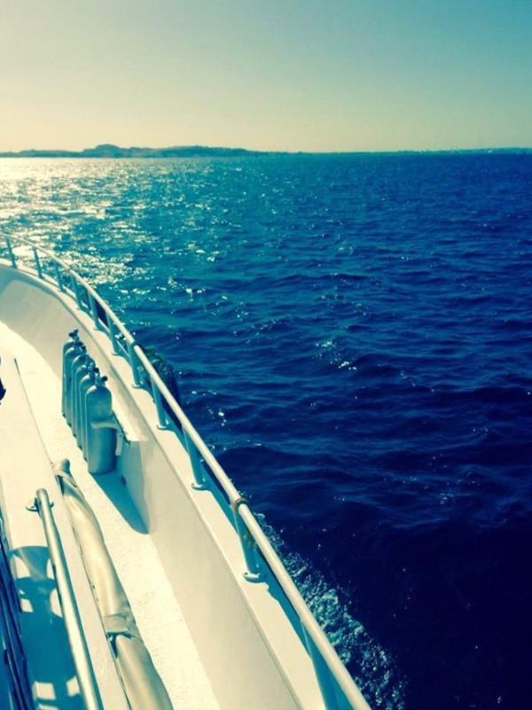 Bootstauchgang mit schönem Ausblick