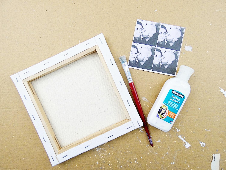 Préparation du transfert de la photo sur canvas inversé