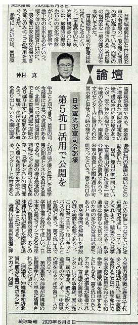 琉球新報 20年6月8日「論壇」より