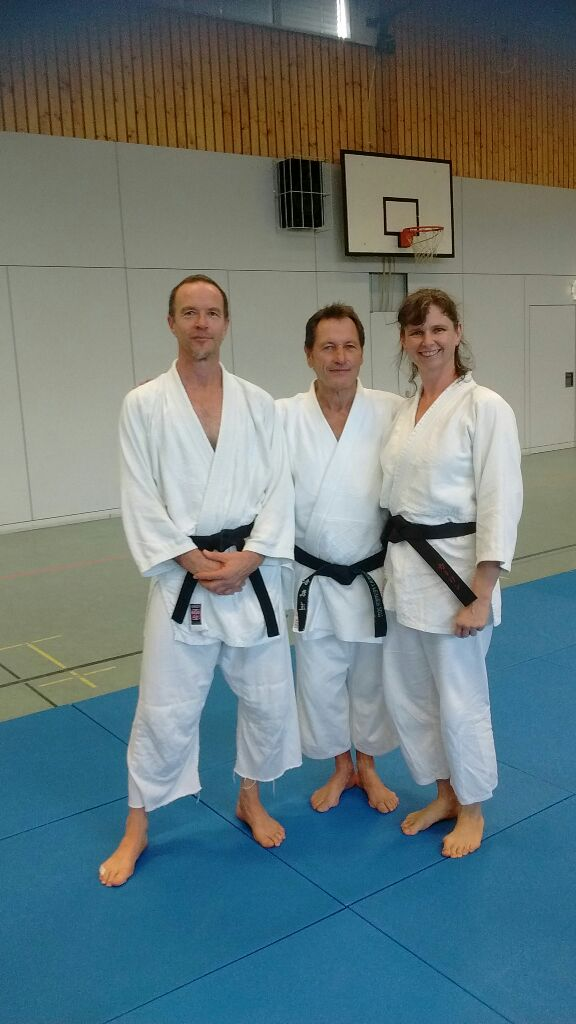 Karin und Rudi mit Christian Tissier beim Aikidoseminar in Berlin 2015
