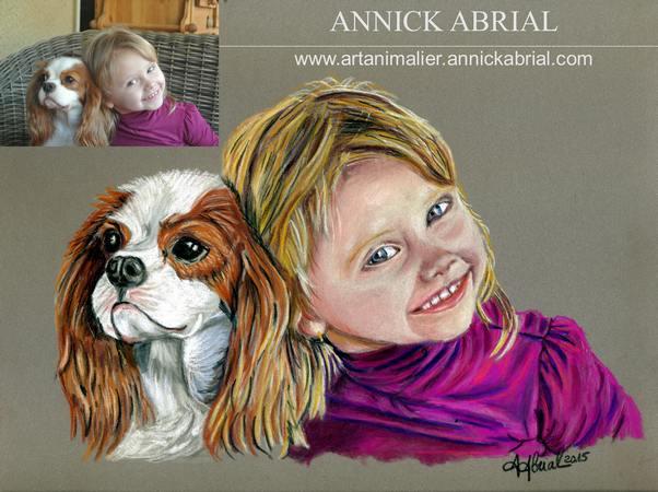 Portrait aux pastels chien Holly et petite fille 24 x 30 cm