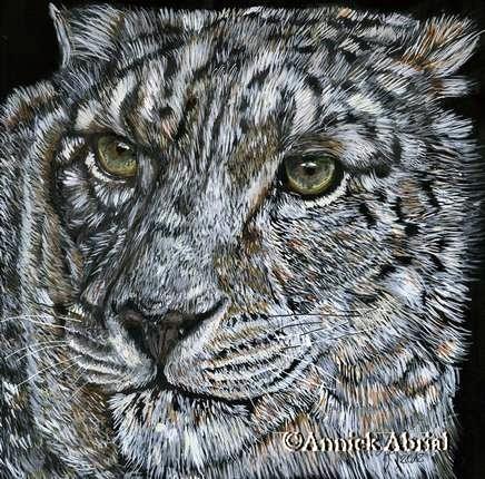 La panthère des neiges - Gouache et Aquarelle d'après une photo de - Art animalier - 21 cm x 20 cm - Disponible