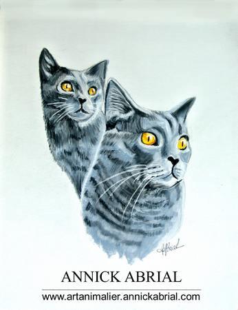Portrait de deux chats aux pastels secs réalisé sur commande 32 cm x 24 cm