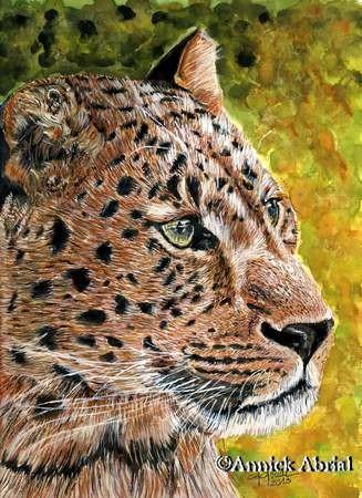 Le léopard - Peinture à la gouache - Art animalier - 24 cm x 32 cm - Disponible