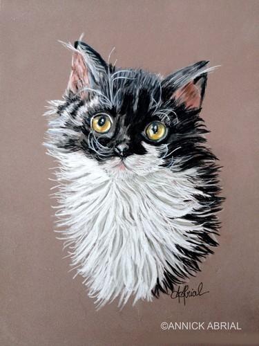 Portrait d'un chat aux pastels secs réalisé sur commande 32 cm x 24 cm