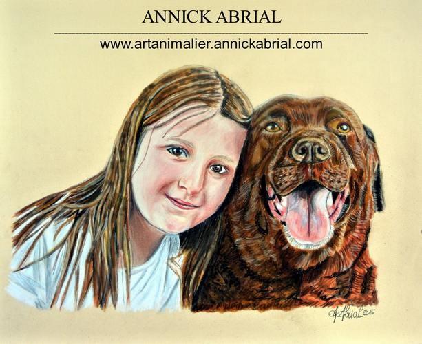 Portrait sur commande aux pastels secs jeune fille avec son labrador