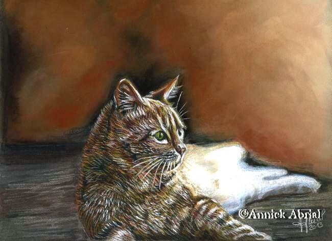 Contemplation - Pastel sec et crayons de couleur - art animalier - 32 cm x 24 cm - 2013 - Disponible
