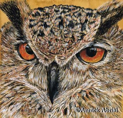 Le hibou Grand Duc - Gouache - Art animalier - 22 cm x 20 cm - 2012 - Disponible