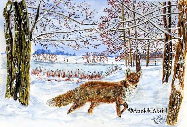 Le renard - gouache - Art arnimalier -