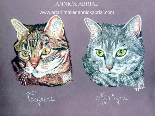 Portrait au pastel sur commande de Tigrou et Mistigri format 30 x 40 cm