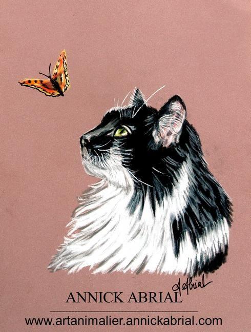 Portrait aux pastels secs d'un chat noir et blanc avec un papillon 2015