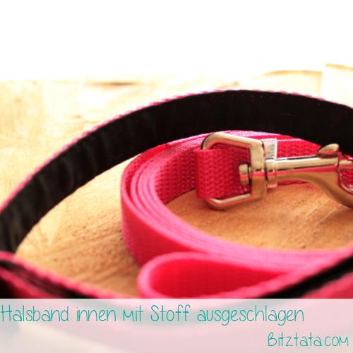Halsband-Leinen-Set in 15mm Breite. Bestickte Halsbänder ab 15mm werden mit Stoff ausgeschlagen.