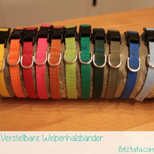 Welpenbänder in 10mm Breite, in vielen Farben erhältlich. Mit oder ohne D-Ring. Kein Schnellöffner!