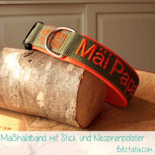 """Maßhalsband aus 3cm breitem olivfarbenen Gurtband mit oranger Neoprenpolsterung. Bestickung mit Namen und (kleiner) Telefonnummer in """"Arial""""-Font."""