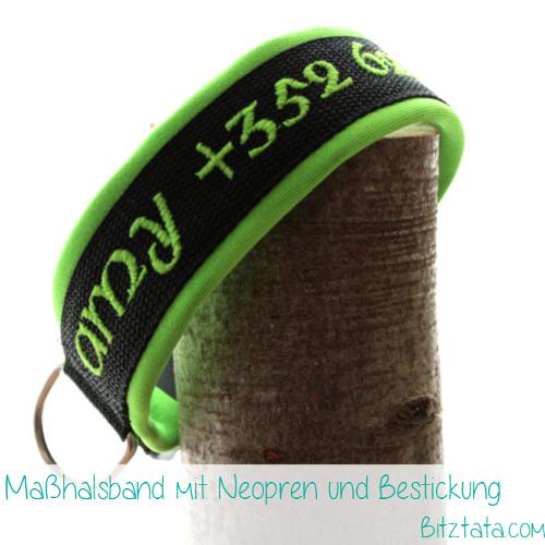 """3cm breites schwarzes Gurtband mit Neongrünem Neopren unterlegt. Bestickt mit Namen und Telefonnummer im """"Celtic""""-Font. Maßhalsband."""