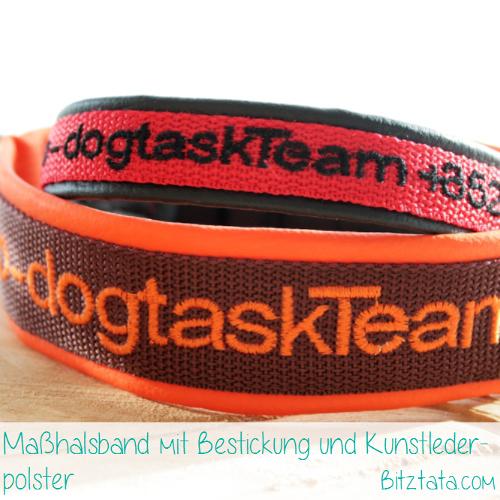 """3cm breiten Gurtband gefertigt und mit orangem Kunstleder unterlegt. Bestickt mit Name, Betrieb und Telefonnummer im """"Arial""""-Font."""