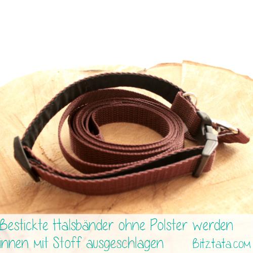 Halsband-Leinen-Set mit Kennelnamen bestickt. Bestickte Halsbänder ab 15mm Breite werden mit Stoff ausgeschlagen.