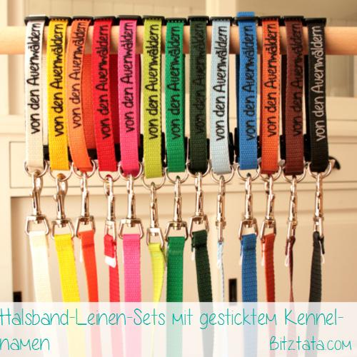 Welpensets bestehend aus Halsband und Führleine in vielen Farben erhältlich. Mit Kennelnamen bestickt.