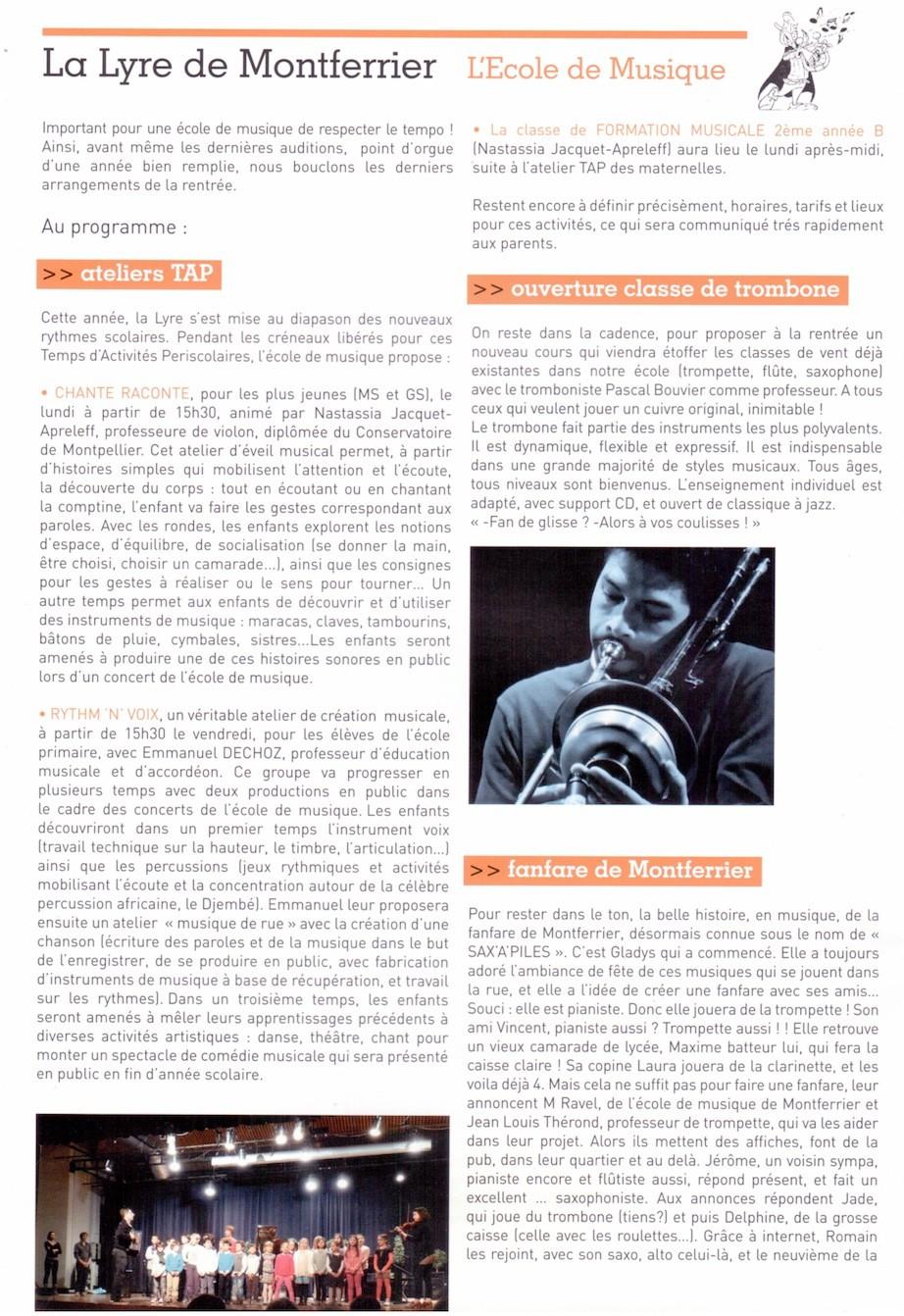 article ecole de musique la lyre de montferrier sur lez