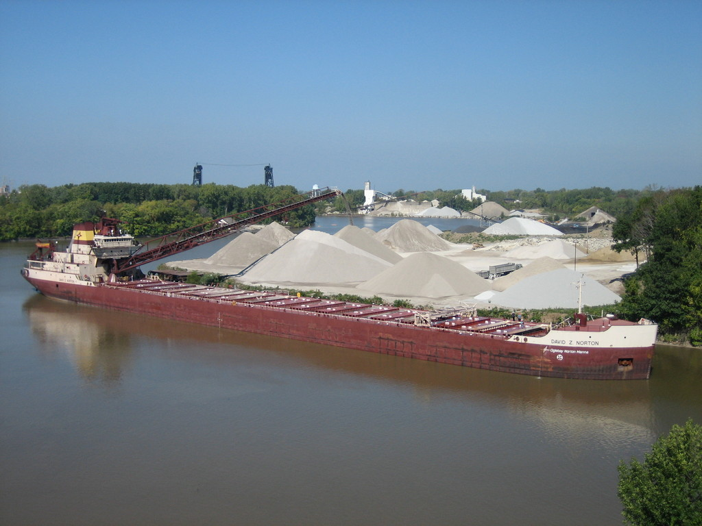 Aggregate delivered to Idaho Avenue dock on Black River in Lorain