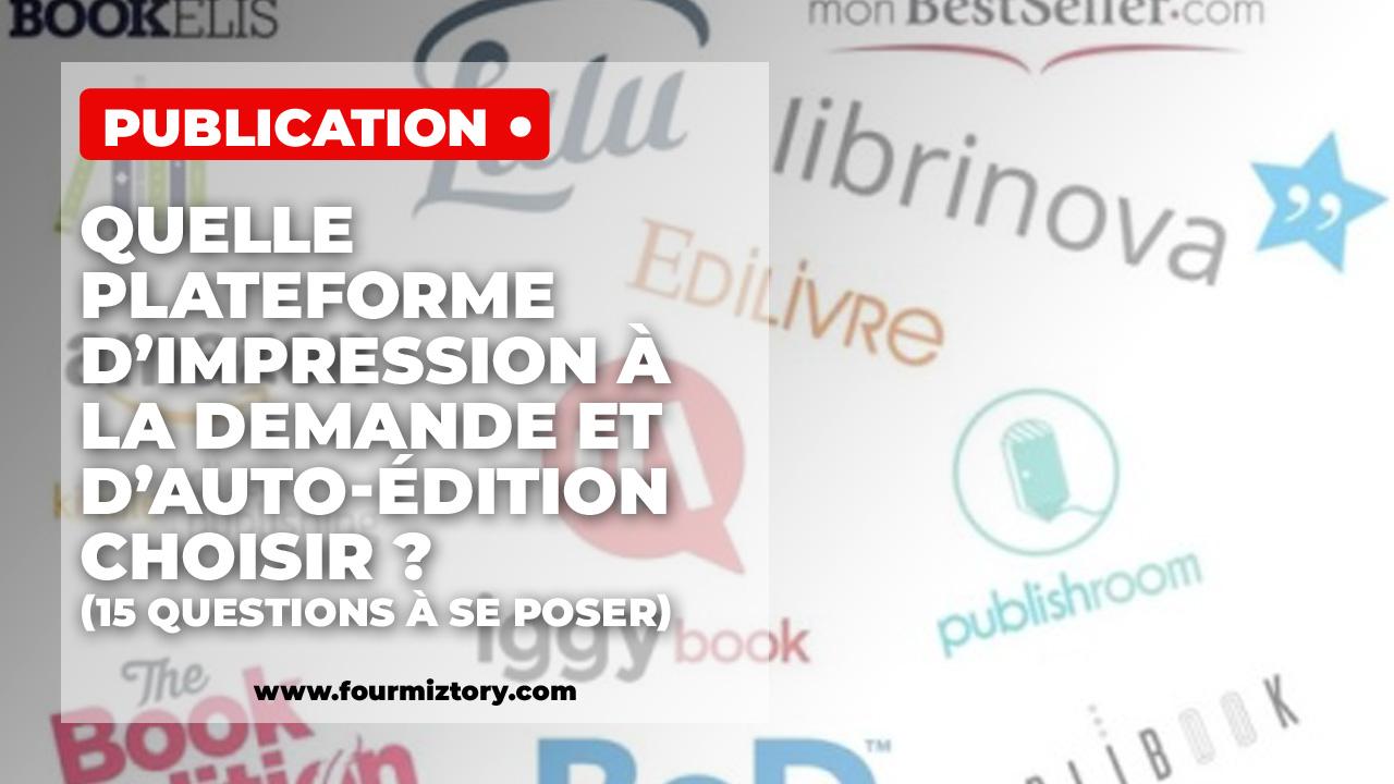 Bod, Lulu, Creatspace, Ingram, Iggybook, kindle direct publishing alias KDP, thebookedition... ont tous des avantages et des inconvénients.