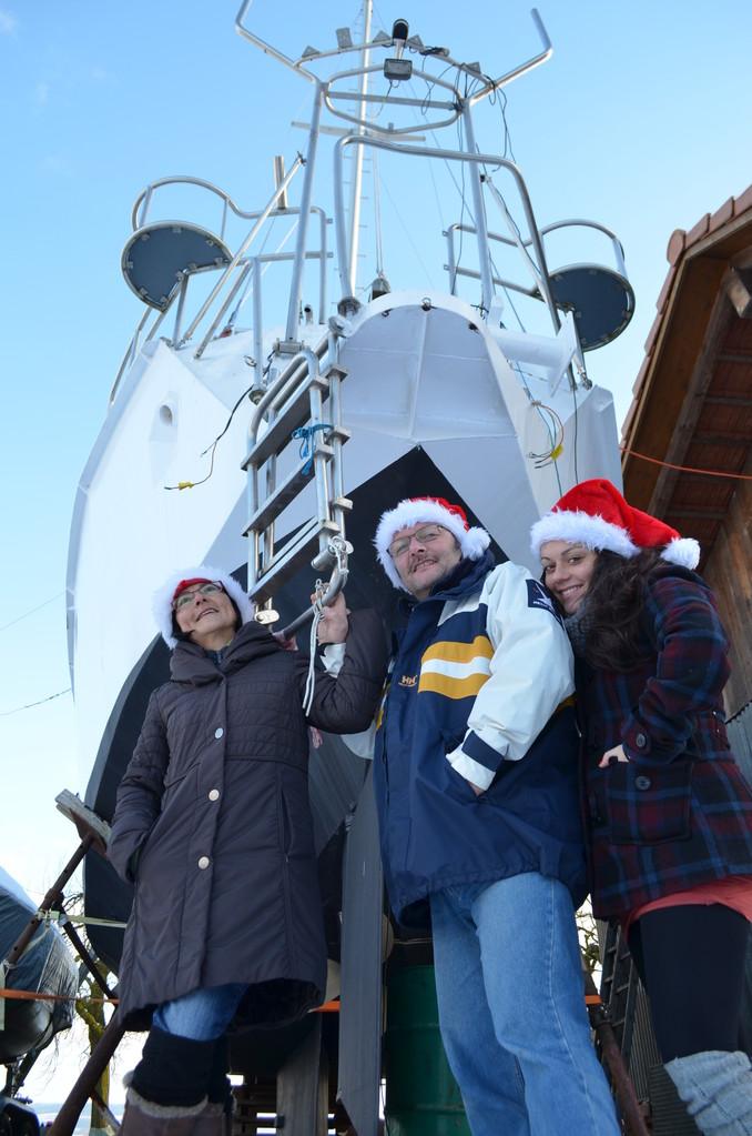 Auch im Winter wurde gebaut / Tambien en invierno trabajamos en el barco