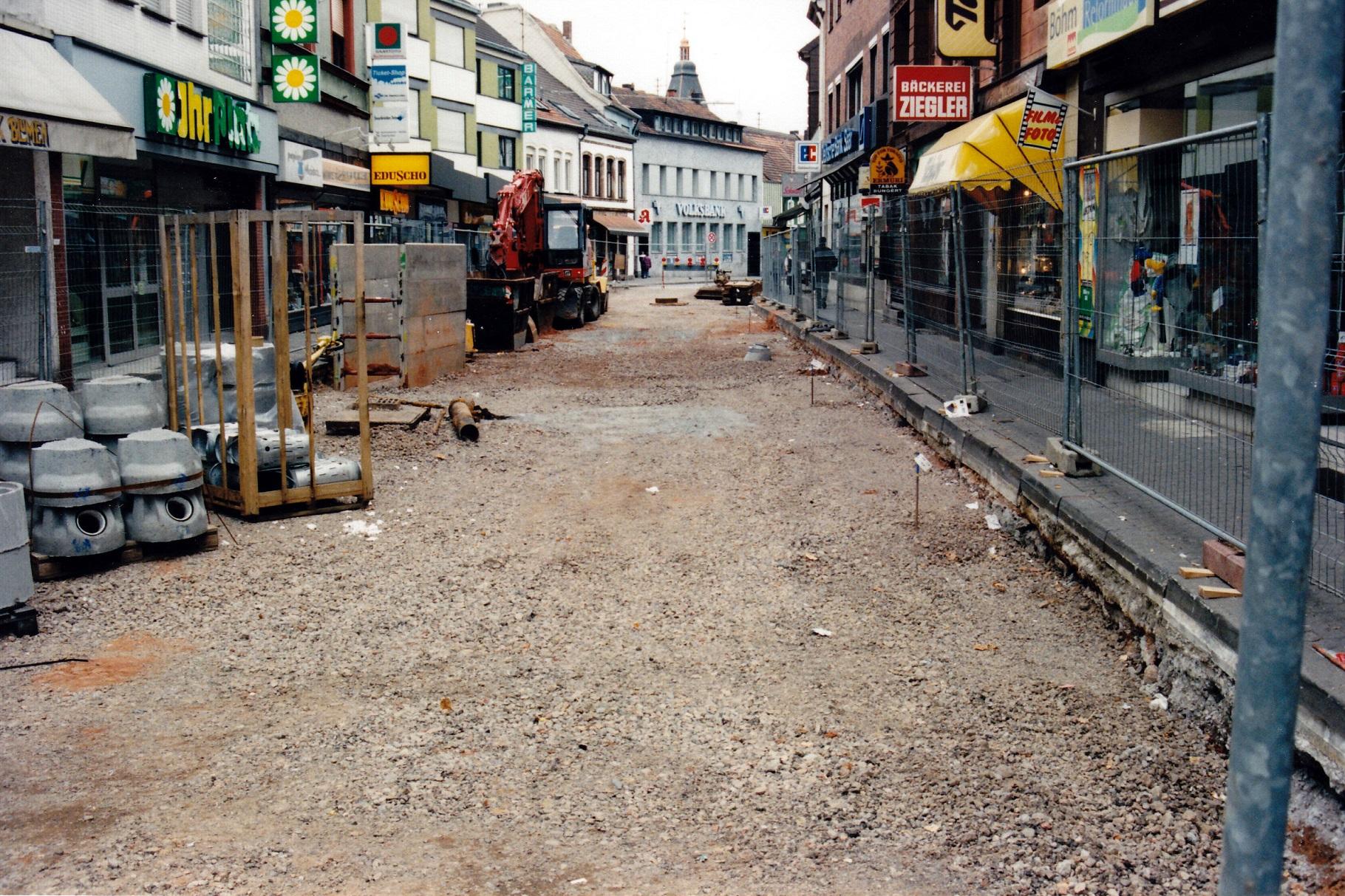 Bau der Fußgängerzone 1996