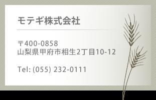 モテギ株式会社  〒400-0858  山梨県甲府市相生2丁目10-12  Tel: (055) 232-0111