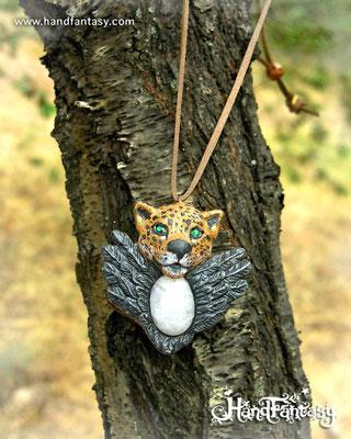 Colgante Jaguar, colgante Cuervo, tótem Jaguar, tótem Cuervo, collar Jaguar, collar jaguar, colgante Piedra Luna