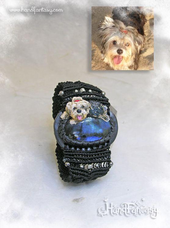 Brazalete Labradorita con figura mascota, pulsera mascota