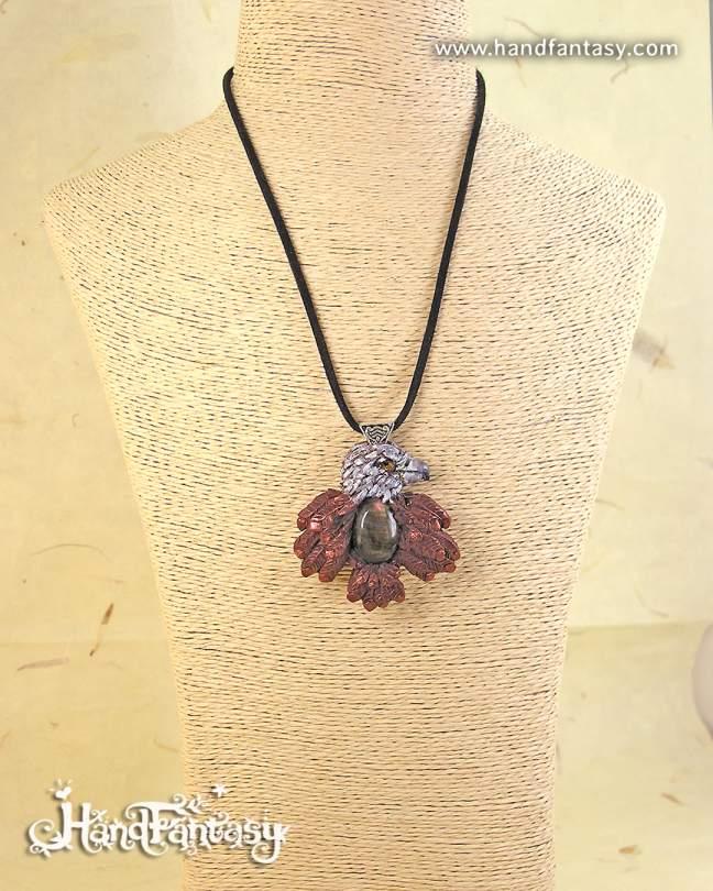 Colgante Águila con Labradorita, Collar de tótem, Colgante de animal espiritual, Collar piedra Tótem