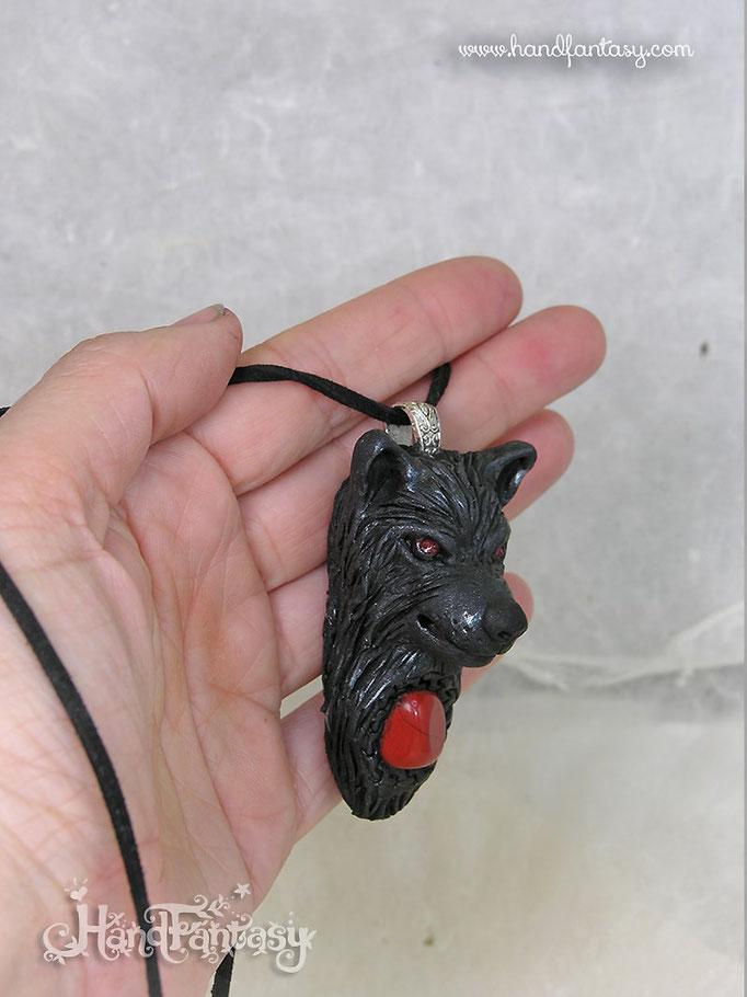 Colgante Lobo negro, colgante de lobo, collar lobo, joyeria lobo