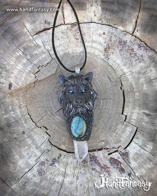 Colgantes de Lobos, Colgante cabeza de Lobo, Tótem Lobo colgante, lobo negro colgante
